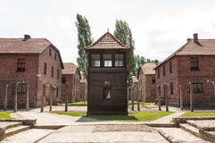 Auschwitz Guard House. Guard House surrounded by barbed wire, Auschwitz, Polan royalty free stock image