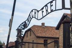 Auschwitz hoofdingang Stock Afbeeldingen