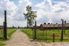 Auschwitz II - Birkenau ścieżka od sztachetowej rampy sektor Ja zdjęcia royalty free