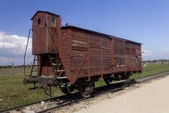 Auschwitz II - Birkenau - carro histórico del tren Foto de archivo libre de regalías