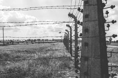 Auschwitz II - Birkenau electrified fence Royalty Free Stock Images