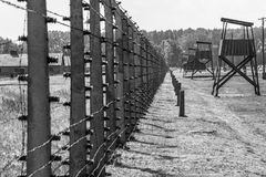 Auschwitz II - Birkenau electrified fence and towers Royalty Free Stock Photography