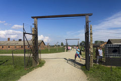 Auschwitz II -Birkenau: Entrance to one of the camp sectors Stock Photography
