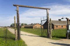 Auschwitz II -Birkenau: Entrance to one of the camp sectors Stock Image