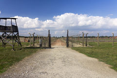 Auschwitz II -Birkenau: Entrance to one of the camp sectors Royalty Free Stock Photo