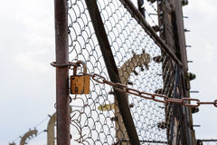 Auschwitz II - Birkenau entry gate lock Stock Images
