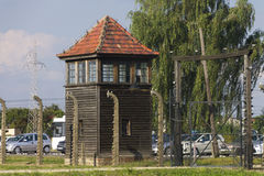 Auschwitz II -Birkenau Extermination camp guard tower Royalty Free Stock Photo