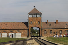 Auschwitz II -Birkenau Extermination camp main entrance Stock Photos
