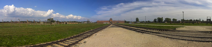 Auschwitz II -Birkenau Extermination camp main entrance panorama Royalty Free Stock Photos