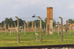 Auschwitz II -Birkenau Extermination camp outdoors Royalty Free Stock Photo
