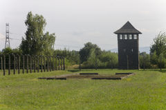 Auschwitz II -Birkenau Extermination camp outdoors and defense tower Stock Photos
