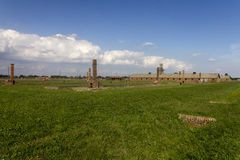 Auschwitz II -Birkenau Extermination camp outdoors and main entrance Royalty Free Stock Image