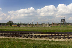 Auschwitz II -Birkenau Extermination camp outdoors and rail tracks Stock Photos