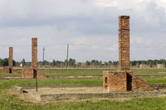 Auschwitz II -Birkenau Extermination camp outdoors and ruins Royalty Free Stock Photo