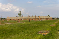 Auschwitz II -Birkenau Extermination camp outdoors and ruins Stock Image