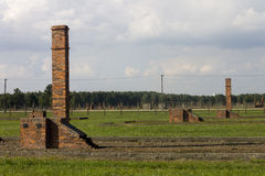 Auschwitz II -Birkenau Extermination camp outdoors and ruins Stock Photo
