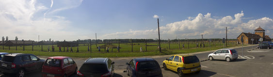 Auschwitz II -Birkenau Extermination camp panorama of borders Stock Image