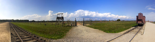Auschwitz II -Birkenau Extermination camp panorama Royalty Free Stock Images