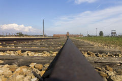 Auschwitz II -Birkenau Extermination camp railroad Stock Image