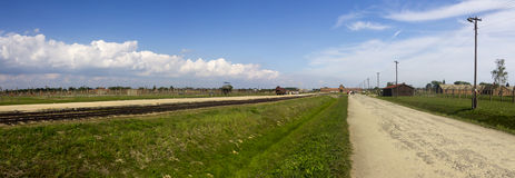 Auschwitz II -Birkenau Extermination camp railroad panorama Royalty Free Stock Photos