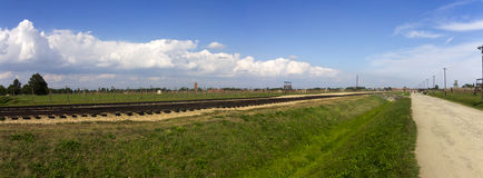 Auschwitz II -Birkenau Extermination camp railroad panorama Royalty Free Stock Photography