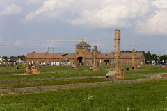 Auschwitz II -Birkenau Extermination camp ruins and main entrance Royalty Free Stock Photography