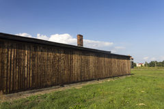 Auschwitz II -Birkenau Extermination camp wooden housing Royalty Free Stock Photos