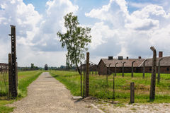 Auschwitz II - Birkenau path from rail ramp to Sector I. Auschwitz II - Birkenau path from rail ramp to women's barracks at Sector Ia and Sector Ib Royalty Free Stock Photos