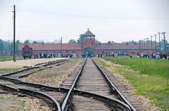 Auschwitz II drevstation inifrån Arkivbilder