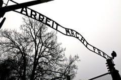 Auschwitz ingångsport Arkivfoto