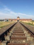 Auschwitz järnväg till portar av död arkivbilder
