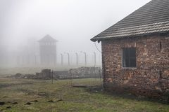auschwitz Koncentracyjny obóz Śmiertelny koszary Żydowski eksterminacja obóz Niemiecki śmiertelny obóz w Oswiecim, Polska obraz royalty free