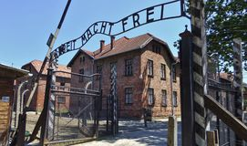 Auschwitz koncentrationsport, tecken för ARBEIT MACHT FREI Solig dag på Juli 7th, 2015 - Krakow, Polen Royaltyfria Foton