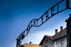 Auschwitz Main Entrance Sign Stock Images
