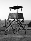 Auschwitz memorial. Watchtower in auschwitz taken in black and white colors Royalty Free Stock Photos