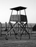 Auschwitz memorial. Watchtower in auschwitz taken in black and white colors royalty free stock photos