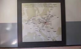 Auschwitz-Museums-Holocaust-Ausstellung, Karte der Haupt-Websites von, denen Juden und Gefangene nach Auschwitz - 7. Juli verbann stockfotos