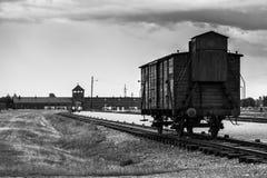 AUSCHWITZ, POLÔNIA - 11 de julho de 2017 Trem histórico nos trilhos no engodo Imagem de Stock Royalty Free
