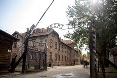 Auschwitz concentration camp. Auschwitz, Poland - August 28, 2017: Arbeit macht frei work sets you free slogan on the entrance of Auschwitz concentration camp Royalty Free Stock Photos