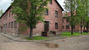 Auschwitz Poland. barrack buildings where prisoners lived second world war