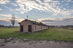 AUSCHWITZ, POLAND. Barracks in Auschwitz II–Birkenau concentration camp. Construction on Auschwitz II-Birkenau began in October 1941 to ease congestion at the Stock Photography