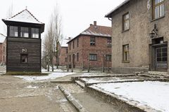 Auschwitz concentration camp. AUSCHWITZ, POLAND - DECEMBER 2017; Buildings in the concentration camp Stock Photography