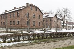 Auschwitz concentration camp. AUSCHWITZ, POLAND - DECEMBER 2017; Buildings in the concentration camp Royalty Free Stock Images