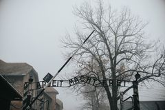 AUSCHWITZ, POLAND - DECEMBER 23, 2017: Holocaust Memorial Museum. The main gate of the concentration camp Auschwitz with the stock image