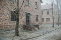 AUSCHWITZ, POLAND - DECEMBER 23, 2017: Inside the hell of Auschwitz and Birkenau concentrations camp stock photo