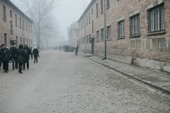AUSCHWITZ, POLAND - DECEMBER 23, 2017: Inside the hell of Auschwitz and Birkenau concentrations camp stock photos