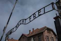 Entrance to the Nazi Concentration Camp at Auschwitz 1 showing the sign saying Arbeit Macht Frei. Auschwitz, Poland. Entrance to the Nazi Concentration Camp at Stock Image