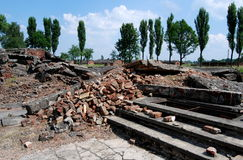 Auschwitz, Poland: Gas Chamber Ruins. Ruins of a former gas chamber destroyed by the Nazis in their attempt to cover up the atrocities and killings at the stock photo