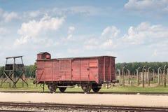 AUSCHWITZ, POLAND - JULY 2017. Auschwitz Birkenau concentration camp, Deportation wagon. AUSCHWITZ, POLAND - JULY 2017. Auschwitz Birkenau concentration camp stock image