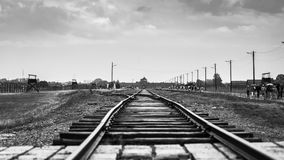 AUSCHWITZ, POLAND - July 11, 2017. Rail entrance to concentratio. N camp at Auschwitz Birkenau Stock Photo